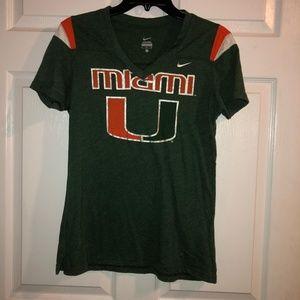 Nike Miami Hurricanes T-Shirt Women's V-Neck Green